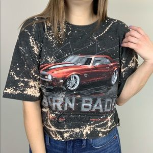 Tops - Camaro | Bleached Car Graphic Tee Edgy Casual